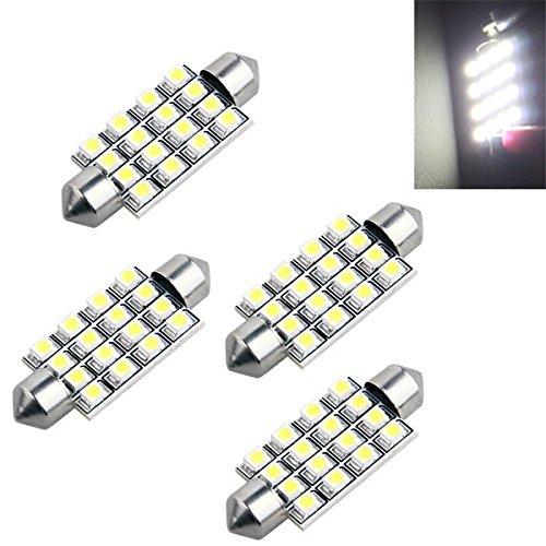 4 AUTO LAMPADINA SILURO 16 LED SMD 3528 BIANCO MM 42