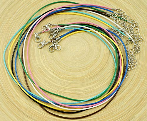 te Baumwolle Schnur Halskette Dekorativen Perlen-String Geflochten Verdreht Lobster Claw Spangen, Extender 1,5 mm 46cm 18