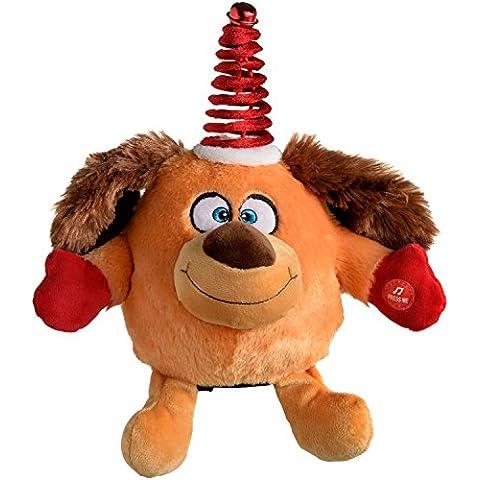 WeRChristmas–novedad Spinnig baile Musical Perro Navidad decoración, Multicolor, 16cm