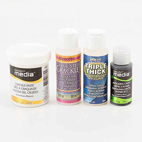 decoart-4-x-mediums-one-step-crackle-triple-thick-gloss-antiquing-cream-white-crackle-paste-set-of-4