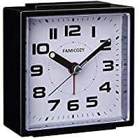 FAMICOZY Small Alarm Clock,Silent Non Ticking with Snooze and Backlight,Crescendo Alarm,Big Numbers for Easy Reading,Analogue Quartz Alarm Clock for Bedside Nightstand,Battery Operated,Black
