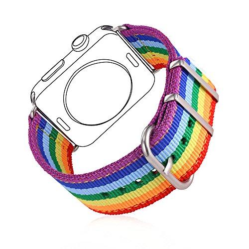 Correa para Watch Series 1 / 2 Bandmax 42mm LGBTI Arco Iris Watchband Nailon Trenzado Denim Telas Reemplazo de Banda Correa para Apple Watch Todos Los Modelos (42mm,Arco iris)