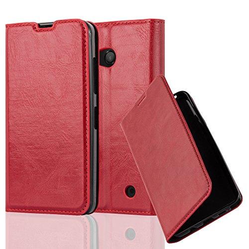 Cadorabo Hülle für Nokia Lumia 550 - Hülle in Apfel ROT – Handyhülle mit Magnetverschluss, Standfunktion und Kartenfach - Case Cover Schutzhülle Etui Tasche Book Klapp Style
