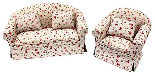Inusitus 2er Set Neues Puppenhaus Sofa und Sessel   Miniatur Möbel Couch Set  Puppen Spielzeug   1/12 Möbel für Kinder (Blumen) (Neue Couches Und Sofas)