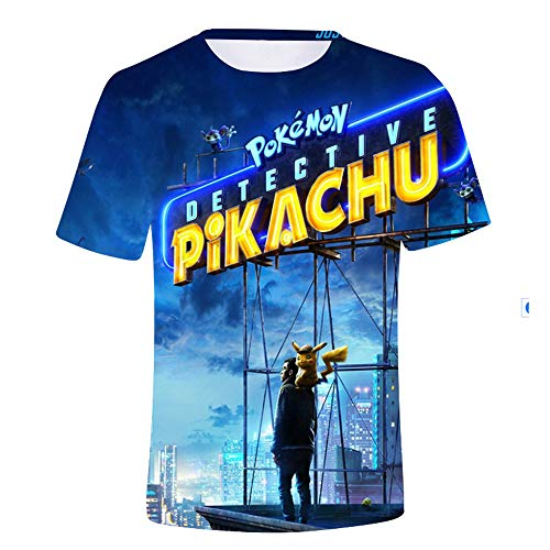 WQWQ Herren Sommer T-Shirt Pokemon Kurzarm Shirt Rundhals Quick Dry Halbarm, E,XS (Pikachu Weibliche Anime)