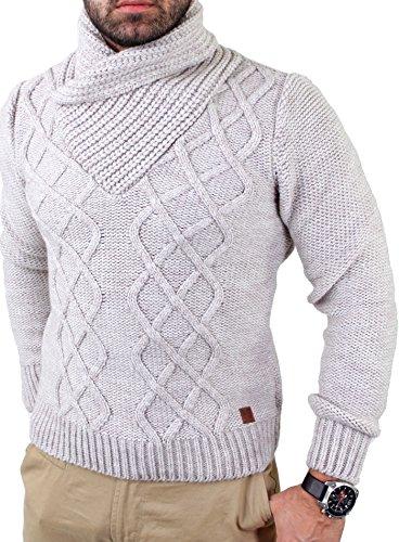 Reslad Herren Schalkragen Strickpullover Winter Pullover RS-3211 Sand