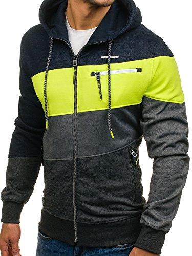 BOLF – Felpa con cappuccio – Collo alto – Logo – Con zip – Uomo [1A1] Multicolore