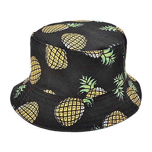Qinlee Fischerhüte Ananas muster Sonnenhut Strandhut Studenten Lässig Hüte Visier Kappe Schutz Kopf Frühling-Sommer Hüte Dame Mädchen für Outdoor (Schwarz)