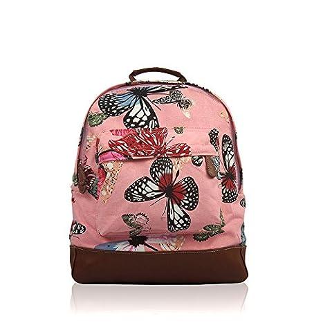 NWNK13® Imprimé Toile Sac à dos école Uni Sac à dos pour voyage Cartable Bandoulière, Butterfly Pink (Multicolore) - xs48520