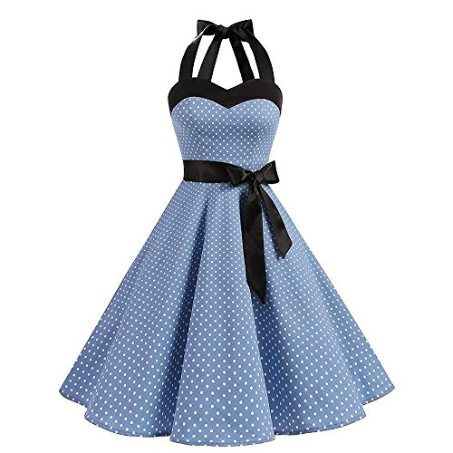 TUDUZ Party Prom Swing Kleid Ärmellos Neckholder Rockabilly 50er Vintage Retro Kleid Petticoat...