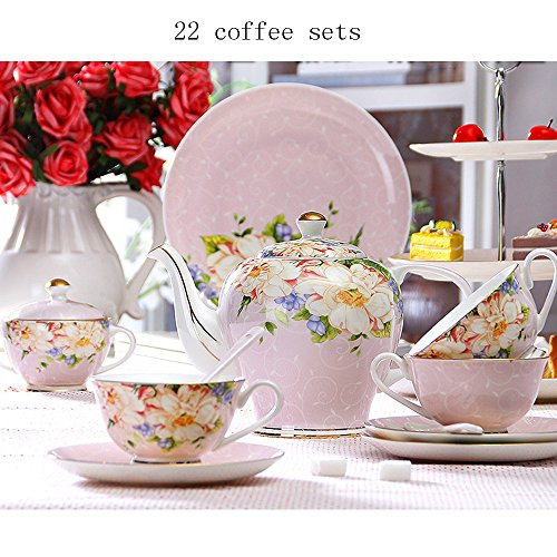 Ensemble de thé en céramique / Set de thé en céramique / Ensemble de thé en acier inoxydable / Set de thé 22 (2 couleurs en option) ( couleur : A )