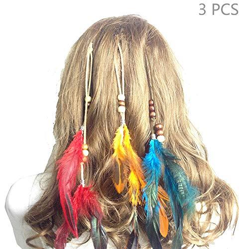 Jurxy Böhmische Pfau Feder Kopfschmuck Stirnband Damen Hippie Boho Indianer Stirnbänder Zigeuner Headwear BB Clip Frau Mädchen Lieblings Haarschmuck - Gelb rot blau (Hinweis Von Frau Pfau Kostüm)