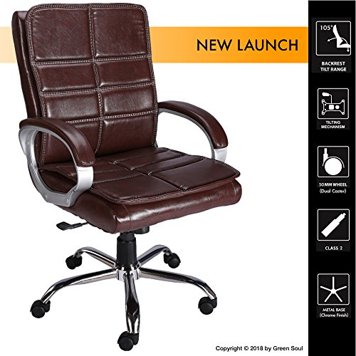 GreenSoul Bristol Mid Back Leatherette Office Chair (Brown)