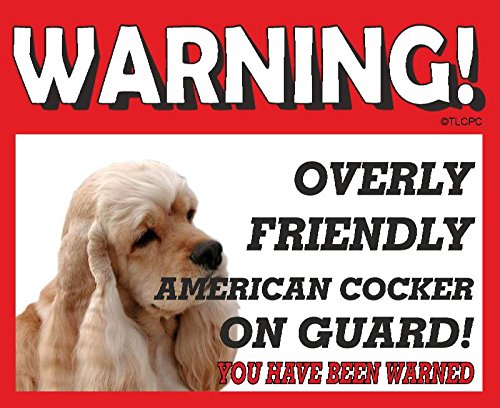 The Lazy Cow American Cocker Spaniel Tan coloured GUARD DOG METAL SIGN 9
