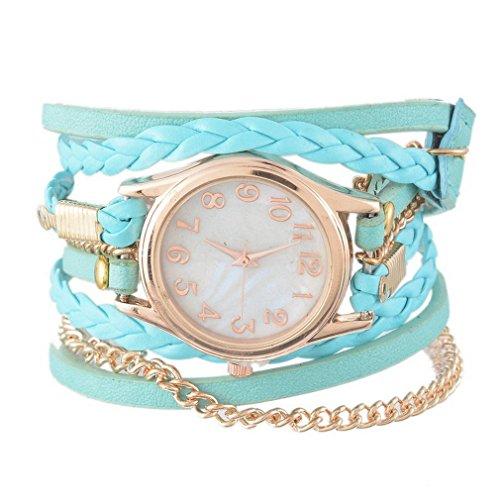 Souarts Damen Geflochten Armbanduhr Jugendliche Maedchen Armreif Uhr mit Batterie Zifferblatt Gruen 57.5CM