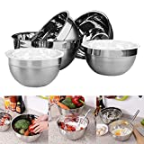 Belle Vous 5-tlgs Schüssel Set Edelstahl Rührschüsseln mit Kunststoffdeckel zum Kochen, Backen, Eier Verquirlen, Salate Mischen, Teig Kneten, Verschachtelte Rührschüssel zum Waschen von Obst, Gemüse, Spülmaschinenfeste Suppenschüsseln Salatschüsseln