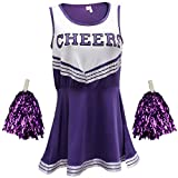 Disfraz de animadora, disfraz de High School Musical, con pompones, Women's, color morado, tamaño Large
