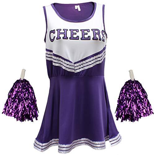 Disfraz Animadora Outfit Uniforme High School Musical disfraz Con Pompones 6Colores–5Tamaños a elegir, Skort, Mujer, color morado, tamaño 38