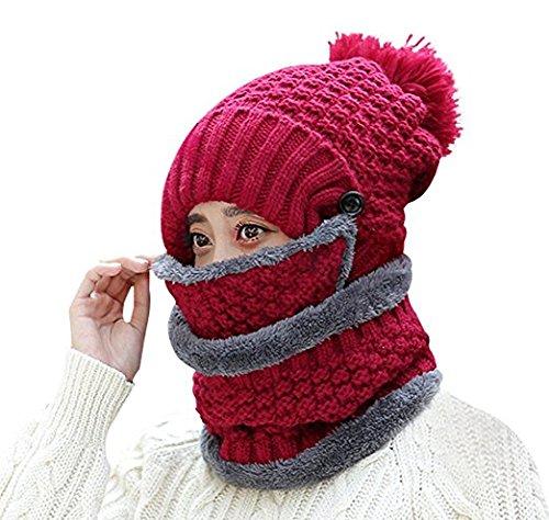 WETOO Damen Wintermütze Strickmütze Gefüttert Warm und Schal Set mit Bommel (Stricken-gesicht-maske)