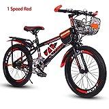 Bike Kinderfahrräder Mountainbikes Kid, Scheibenbremsen,18,20 Zoll,Unterschiedliche Geschwindigkeit,Rot, Blau, Grün,Red1speed,18In