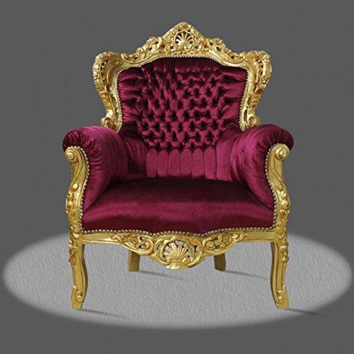 LouisXV Barock Sessel Armlehner Vintage Antik Stil Rokoko Blatt gold rot Samt/Velour antik Stil...