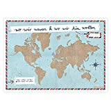 Eine der Guten A2 Weltkarte für Weltenbummler - WIR-Version Blau - Reisedokumentation für eure Reisen zum selbst ausfüllen, Recyclingpapier Poster [Landkarte]