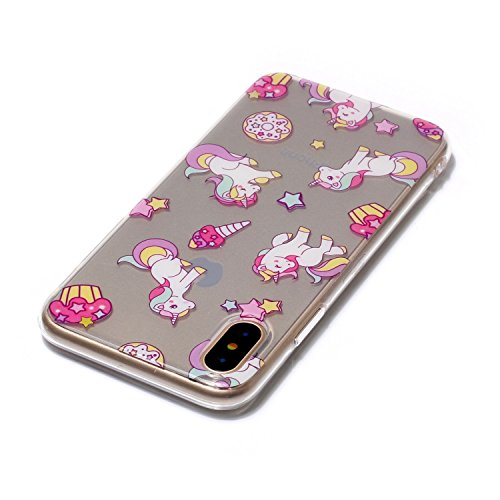 Cover Apple iPhone X, Voguecase Custodia Silicone Morbido Flessibile TPU Transparent Custodia Case Cover Protettivo Skin Caso (cuori rossi 05) Con Stilo Penna Pegasus 02