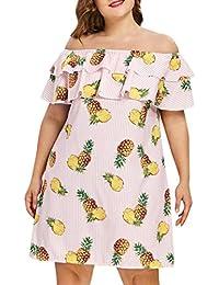 Vestidos Largos Verano,Beikoard Las Mujeres mas del Tamaño de la Piña de Volante Impreso Off - Hombro Mini Vestido de Manga Corta…