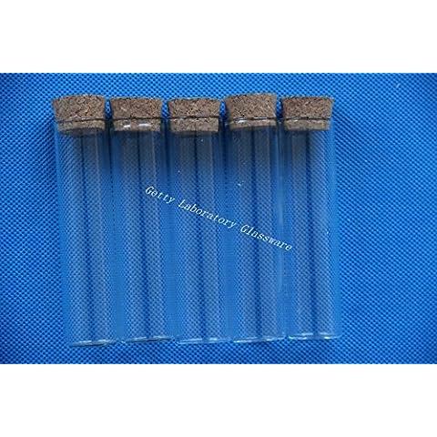 Pyrex parte inferior plana tubos de ensayo 22x 90mm con Thermostability, con Plug