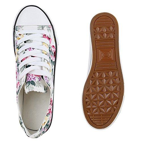 Sneaker Schuhe Schnürschuh Low Kinder Halbhoch Top Blumen Damen Herren Weiss Unisex t4qIq