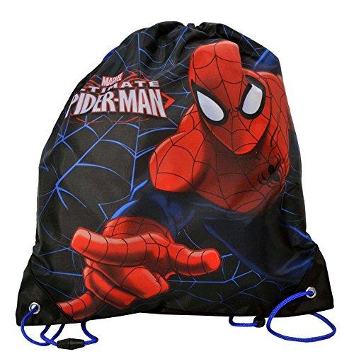 (Kinder Turnbeutel/SPORTBEUTEL 36x32 cm - Marvel Ultimate Spider-Man Collection - SCHWARZ)