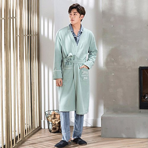 Bathrobes ZLR Men's Autumn And Winter Pure Cotton Plus Size Long Section Pure Cotton Home-style