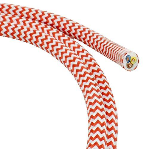 Cable tela, 1,20 m, rojo blanco, zigzag, 3 conductores