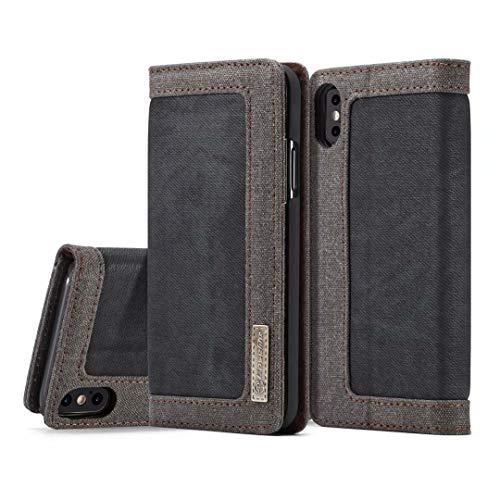 JDDRCASE Handy Zubehör Hüllen, iPhone X Hülle, [Denim Series Wallet Case] Premium Leinwand Denim Flip Folio Schutzhülle mit Ständer für iPhone X
