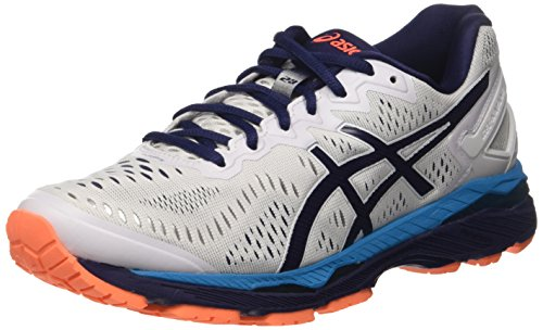 ASICS Gel-Kayano 23, Scarpe Sportive Outdoor Uomo, Multicolore (White/Indigo Blue/Hot Orange), 43.5 EU
