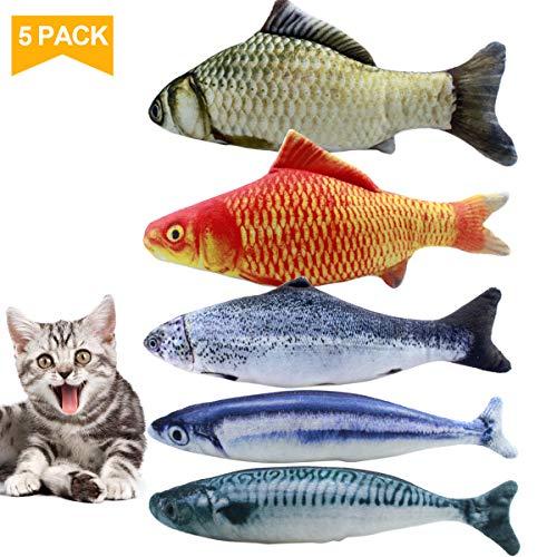 Spielzeug mit Katzenminze, Netspower 5PCS Katze Interaktive Spielzeug, 20CM Simulation Fisch, Kissen Kauen Spielzeug Set, Simulation Plush Fisch Shape für Katze/Kitty/Kätzche -