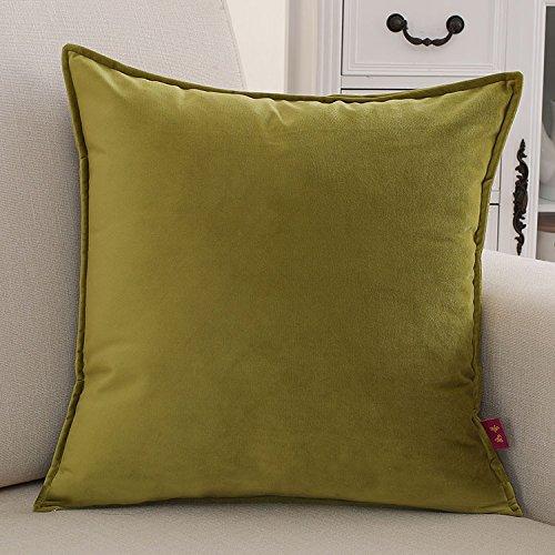 Teebxtile Kissenbezug Sofa Polster Abdeckung Home Dekoration Produkte Baumwolle einfache Volltonfarbe, 45x45cm (Kissen + Kissen, Senf Grün -