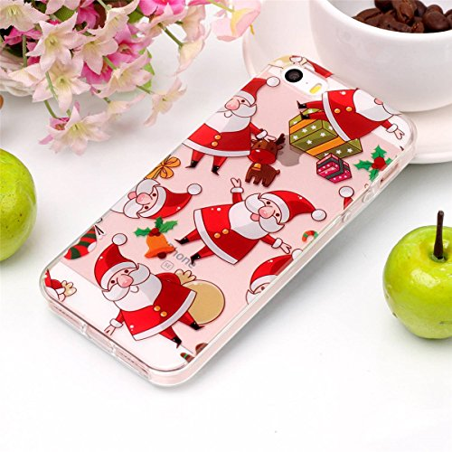 Christmas Hülle iPhone SE 5SE 5 5S LifeePro Weihnachts Cover Ultra dünn Weiches Transparent TPU Gel Silikon Handy Tasche Bumper Case Anti-Scratch Back Cover Full Body Schutzhülle für iPhone SE 5SE 5 5 Santa