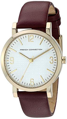 French Connection-Orologio da donna al quarzo con Display analogico e cinturino in pelle, colore: viola, FC1249P