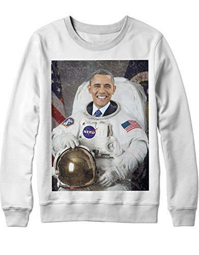 Sweatshirt Barack Obama Astronaut C000089 Weiß XXL Barack Obama Sweatshirt