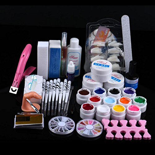Kit de Manucure et Nail Art ultra complet - Professionnel du bricolage Gel UV Nail Art Kit Brosse Tampon Outil La colle Ensemble Acrylique-Yogogo