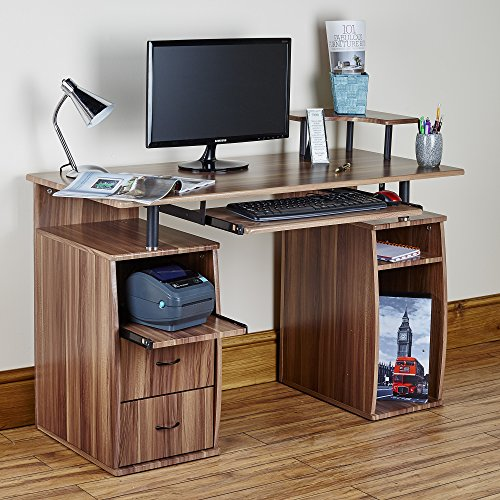 Abreo Computer Desk PC Work Station Table For Home Office Furniture With Drawers, Cupboards, Sliding Keyboard shelf (Walnut)
