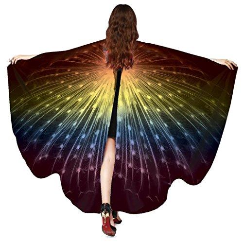 TUDUZ Frauen Pfau Flügel Schmetterling Schals Damen Nymphe Pixie Poncho Cosplay Kostüm Zubehör für Party 168*135CM (Multicolor-A)