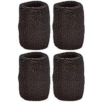 Unique Sports Hi Performance Wristbands (2 Pairs Per Pack, 4 wristbands), Black