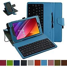 """micro usb Clavier Coque Pour Asus ZenPad Z170C,Mama Mouth Détachable micro usb Clavier PU Cuir debout Fonction Housse Coque Étui Couverture pour 7"""" Asus ZenPad C 7.0 Z170C Z170CG Z170MG Android Tablette, Bleu clair"""