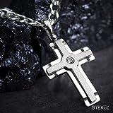 STERLL Herren Halskette, aus massivem 925 Silber mit einem silbernen Kreuzanhänger ideal als Geschenk für Mann oder Freund, mit Schmuckbox - 4