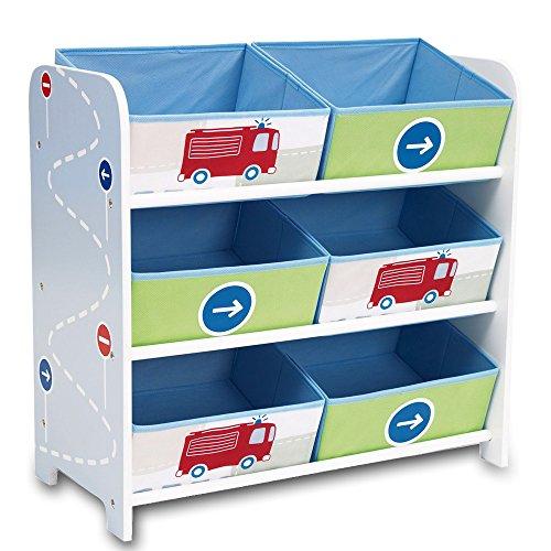 Aufbewahrungsregal - Spielzeugkiste - Kinderregal - Regal 6 Boxen Mädchen und Jungs mit Motivwahl (Autos)