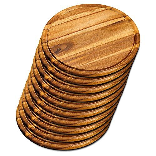 10er SET KESPER 28444 Fleischteller Ø 30 cm aus FSC-zertifiziertem Akazienholz / Holzteller /...