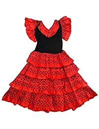 Robe danse flamenco traditionnelle a pois fille rouge Noir