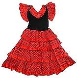 Générique Robe danse flamenco traditionnelle a pois fille rouge Noir (8)